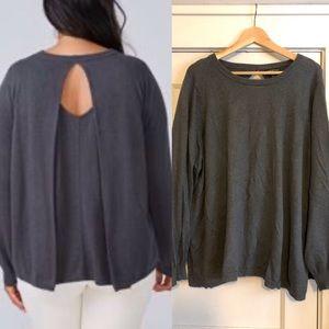 Lane Bryant Gray Keyhole Pleat Back Sweater